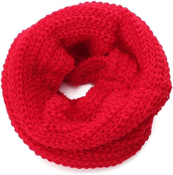 Distinct® El Color de Caramelo Suave de Tejer Lana Bebé Niña Bufandas Invierno Cálido Cuello Pañuelo-rojo: Amazon.es: Deportes y aire libre