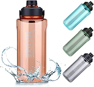 OJOJ Half Gallon Water Bottle, BPA Free Water Jug, 64 oz/ 2L Sports Water Bottle for Camping Hiking Workouts and Outdoor Activity