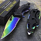 8'' SPRING ASSISTED TACTICAL FOLDING KNIFE FANTASY MAFIA KNIFE Blade Pocket Bottle Opener Survival Knife Camping Hiking Hunting Fishing Knife EC-9417