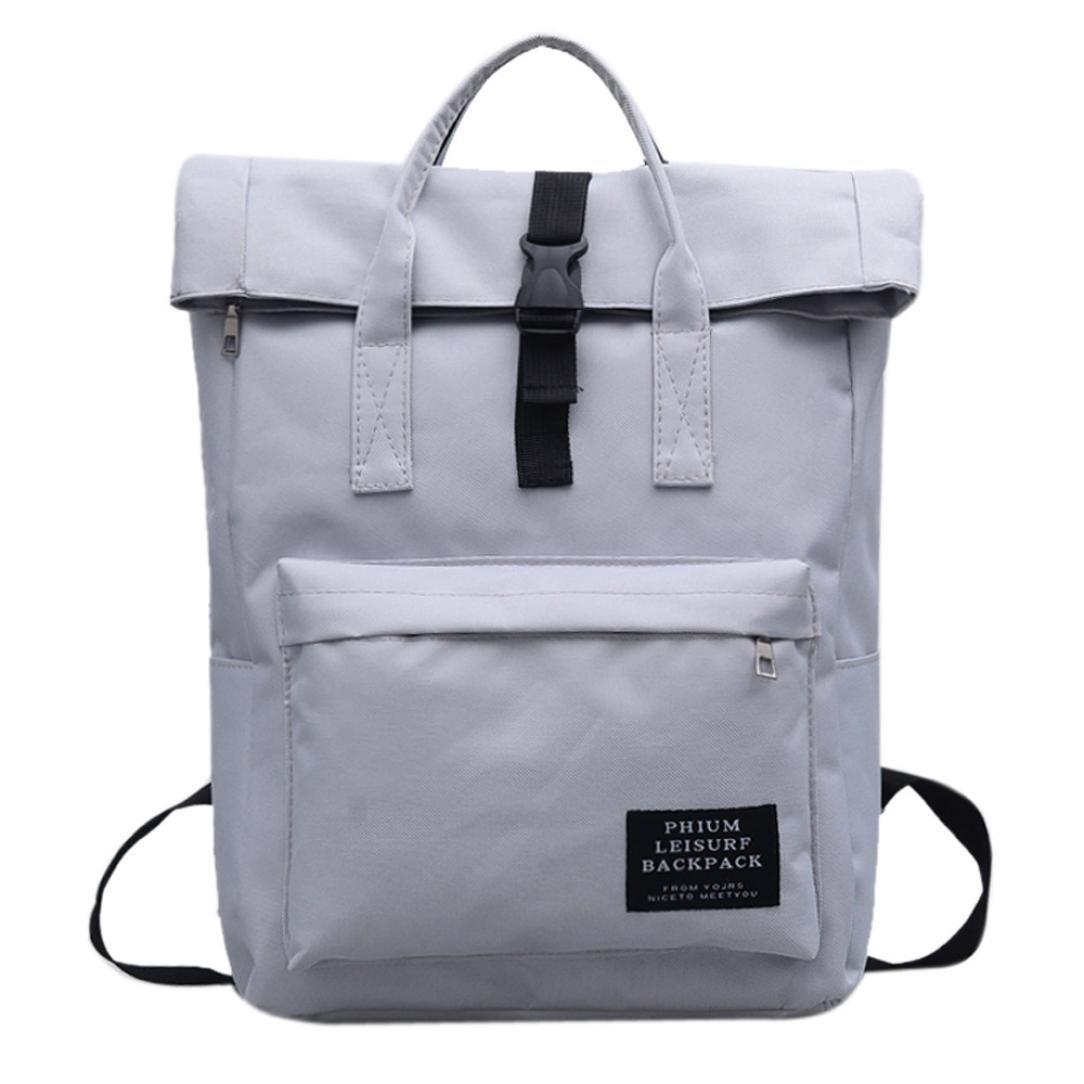 Chartsea School Bag Girls Women Pure Color Nlyon Shoulder Bag School Bag Satchel Tote Backpack (Gray)