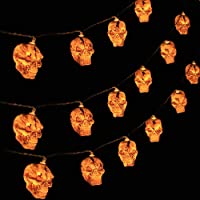 Halloween Decorations, 9.84ft 20 LED Battery Operated Skull String Lights with Flash/StableLighting Mode, Creating…