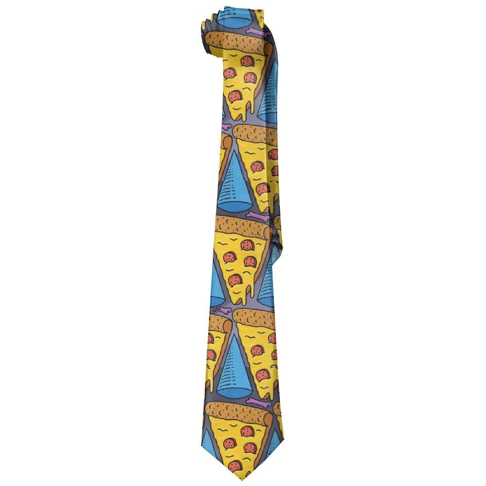 ZQ-SOUTH Men's Pizza Slice Tasty Casual All Over Skinny Novelty Neck Tie