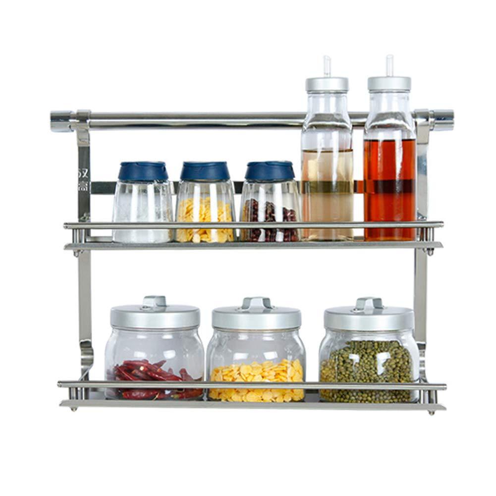 Kitchen Shelf Thicken Wall Mount Kitchen Supplies Storage Stainless Steel Multi-Function, Double Layer 410305mm
