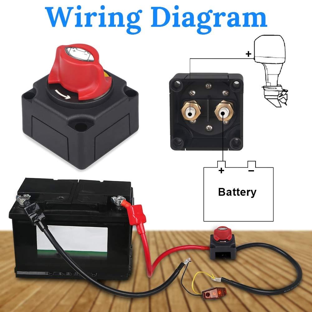 Waterwich Dc 12 48v Battery Disconnect Switch Marine Cut Off Wiring On Diagram Cutoff Shut