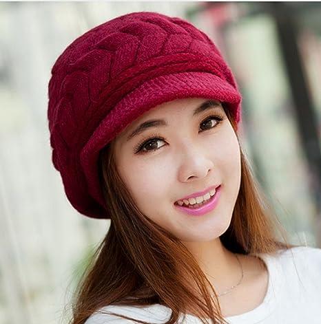 Amazon.com   Best seller Winter Women Hat Warm Knitted Crochet Slouch Baggy  Beret Beanie Hat Cap for women bonnet femme WineRed   Everything Else 763b8016116d