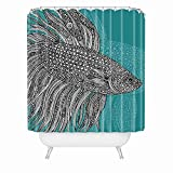 Beta Fish Shower Curtain Evely Shower Curtain,Beta Fish Shower Curtains Waterproof Polyester Blackout Draperies Window Solid Grommet with 12 Hooks for Bedroom Living Bathroom,digital printing60x72 inch