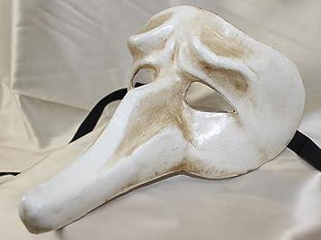 Para hombre blanco estilo tradicional Pulcinella médico de la peste negra larga nariz máscara veneciana