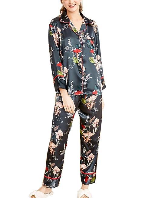 Mujer Pijama 2 Piezas Satén Camiseta Raso Manga Larga Patrón Impreso Ropa Dormir: Amazon.es: Ropa y accesorios