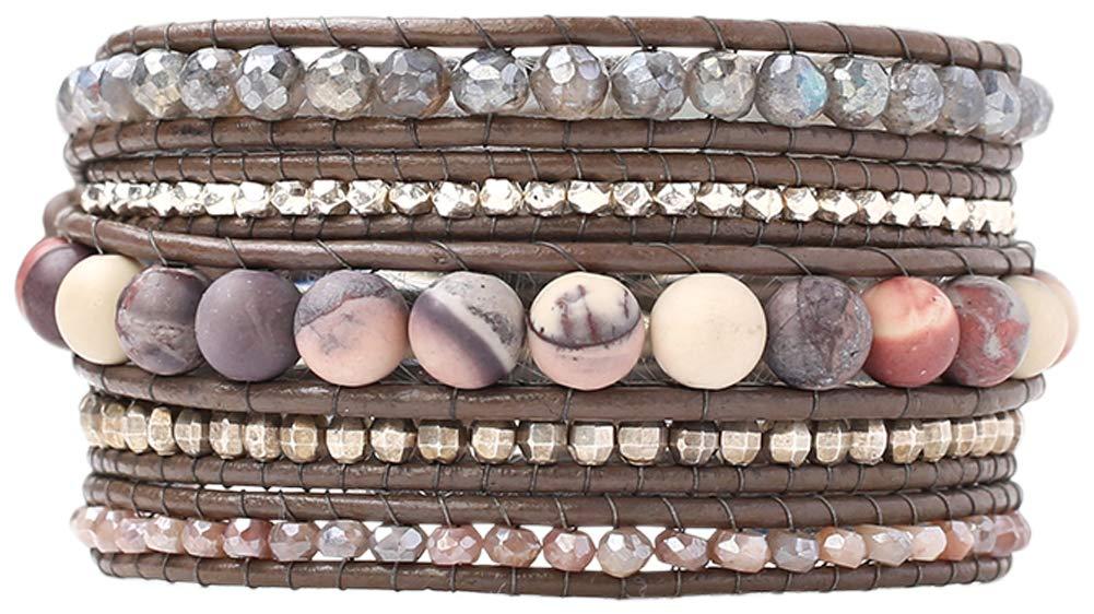 Chan Luu Matte Porcelain Jasper Mix Semi Precious Stones on Brown Leather Wrap Bracelet