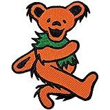 "Grateful Dead Garcia 2"" Orange Dancing Bear Embroidered Iron on Patch p1208"