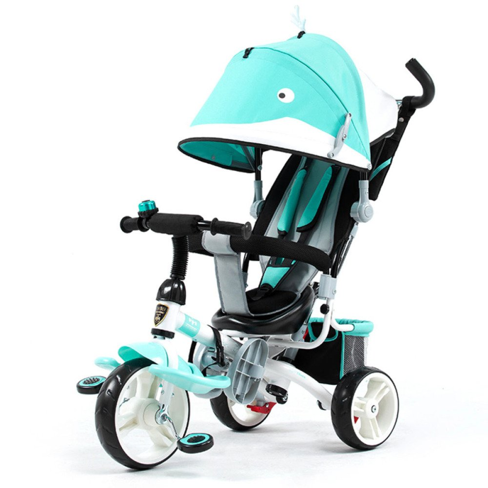 QXMEI Children's Tricycle Stroller Baby Stroller 1 to 6 Years Old Baby Bicycle with Awning,Blue2