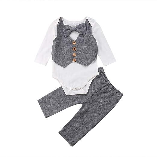2fa58de5136cf Toddler Baby Boy Bodysuit Gentleman Bow Tie Suit Wedding Party Romper+Pants  2pcs Outfits Sets