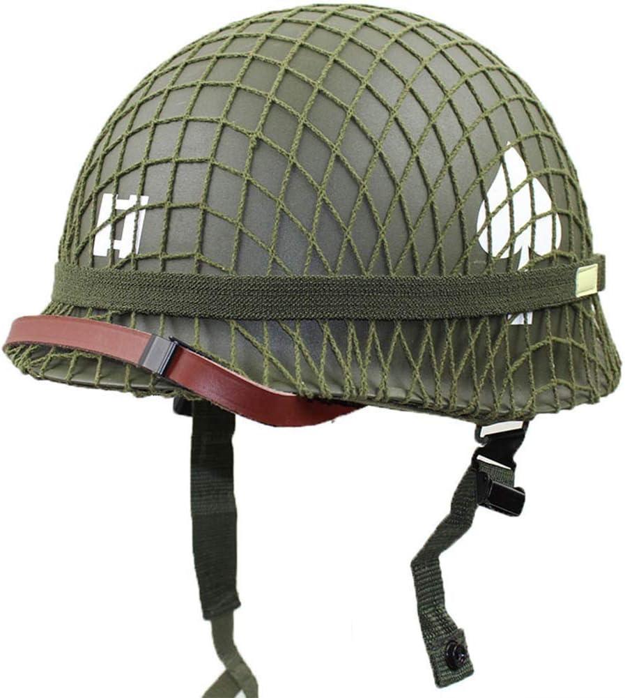 ネット/キャンバスチンストラップDIYの絵画とパーフェクトWW2米軍M1グリーンヘルメットのレプリカ