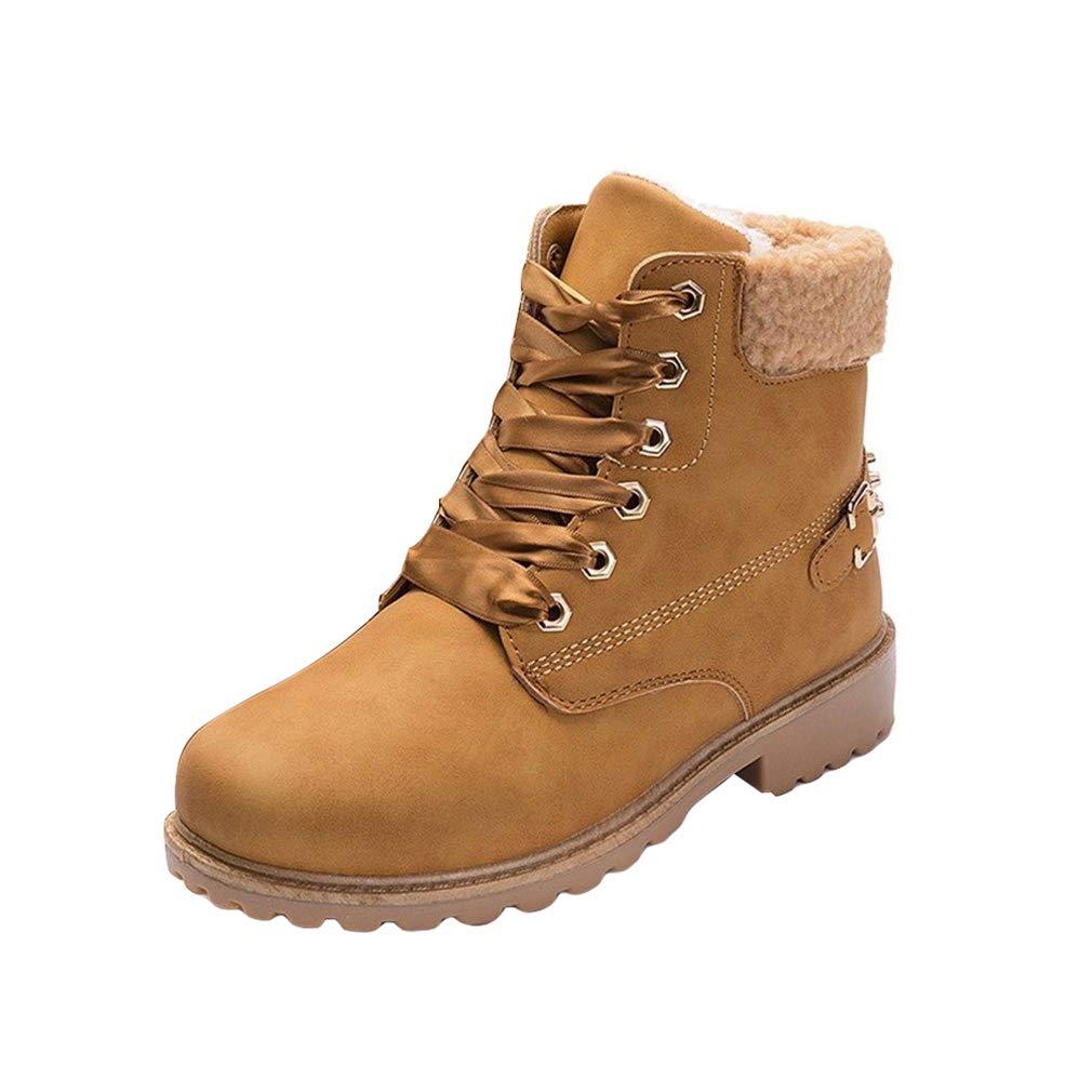 b0a26c7b77 Botas de Piel Forradas Cómodas Mujer/Botines Planos de Invierno para Mujer/ Zapatos con Cordones/Botas ...