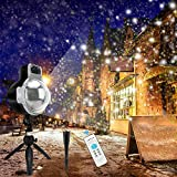 Christmas Snowflake Projector Lights, IP65 Waterproof Outdoor Rotatable Snowfall LED Lights with Wireless Remote Controller, 32 Ft Power Cable on, Holiday and Party Decoration