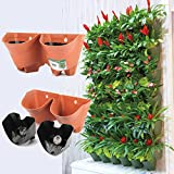 Worth Self Watering Vertical Wall Planter Flowerpot,Hanging Plant Pots W/2-pockets and 3pc Filter Layer,Terracotta,Perfect for Indoor & Outdoor DecorxFF08;Buy 3 Sets GetxFF09;