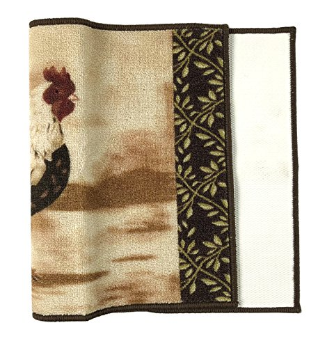 Kitchen Rooster Runner Rug Country Design Slip Skid Resistant Rubber Backing Anti Bacterial (Beige Brown, 1'6