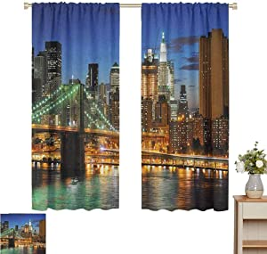 "2020 Gardome Window Curtains City,New York at Night with Brooklyn Bridge Skyscrapers Famous Metropolis Manhattan USA,Multicolor,All Season Thermal Insulated Solid Room Drapes 60"" W x 84"" L"