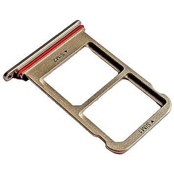 Huawei Mate 10 Pro (BLA-L29) Bandeja Tarjeta Dual SIM y Soporte Micro-SD, Repuesto Original, Marron Moca