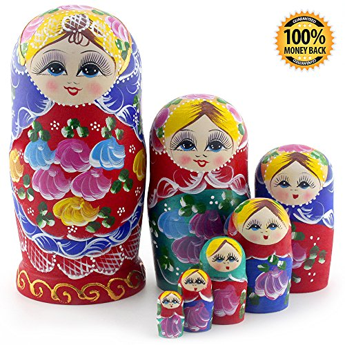 Starxing Russian Nesting Dolls Matryoshka Wood Stacking Nested Set 7 Pieces Handmade Toys for Children Kids Christmas Mother's Day Birthday Home Room Decoration Halloween Wishing Gift