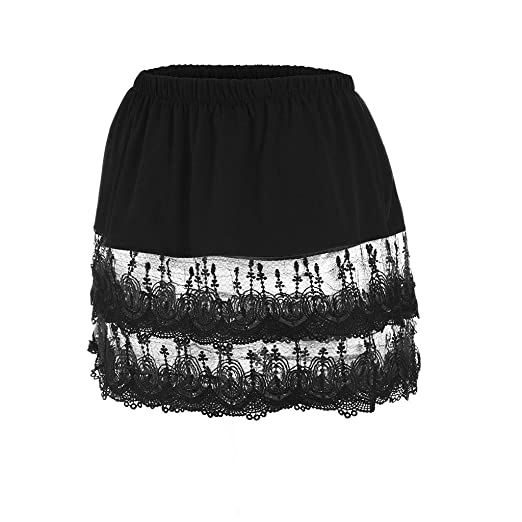 c6e57449a1 Short Skirt for Women Women's Layered Tiered Sheer Lace Trim Extender Half  Slips Plus Size Skirt