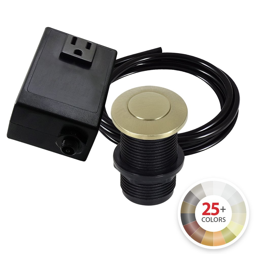 Single Outlet Garbage Disposal Turn On/Off Sink Top Air Switch Kit in Brushed Bronze. Compatible with any Garbage Disposal Unit and Available in 25+ Finishes by NORTHSTAR DÉCOR. Model # AS010-BB