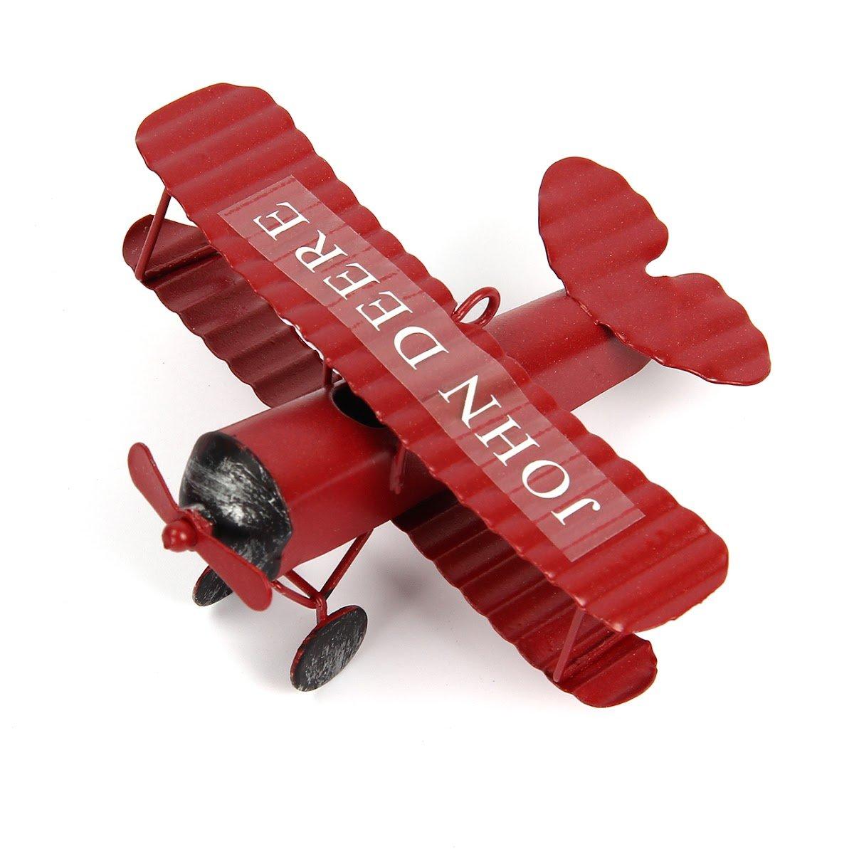 evilandat Vintage Aereo Decorazione modello biplano aereo in ferro in miniatura decorazione di casa Collection ornamento scrivania, blu