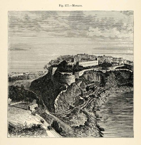 1882 Wood Engraving Monaco Landscape Ocean Sea Ruin Ancient Archaeology Coast - Original Wood (Monaco Wood)