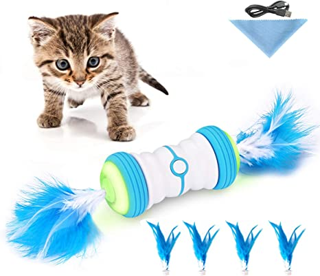 Cat Toys For Indoor Cats Interactive Robot Cat Toys Automatic Irregular 360 Degree Cat Toys 2 Speed Mode Auto Feather Toys With Usb Rechargeable Feather Build In Corful Light Catnip For