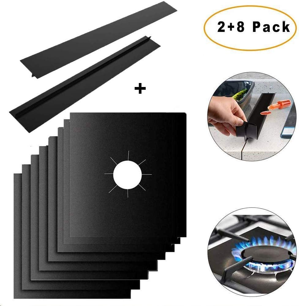 MSDADA 8 Pcs Stove Burner Covers + 2 Pcs Silicone Kitchen Stove Counter Gap Cover,Reusable Gas Range Protectors Non-Stick Stovetop Burner Liner Double Thickness Heat-resistant Cover