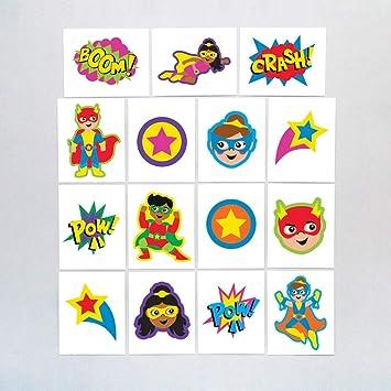 Baker Ross- Calcomanías temporales de superhéroes (Pack de 24) - Ideales para bolsas sorpresa o como idea de regalo para niños