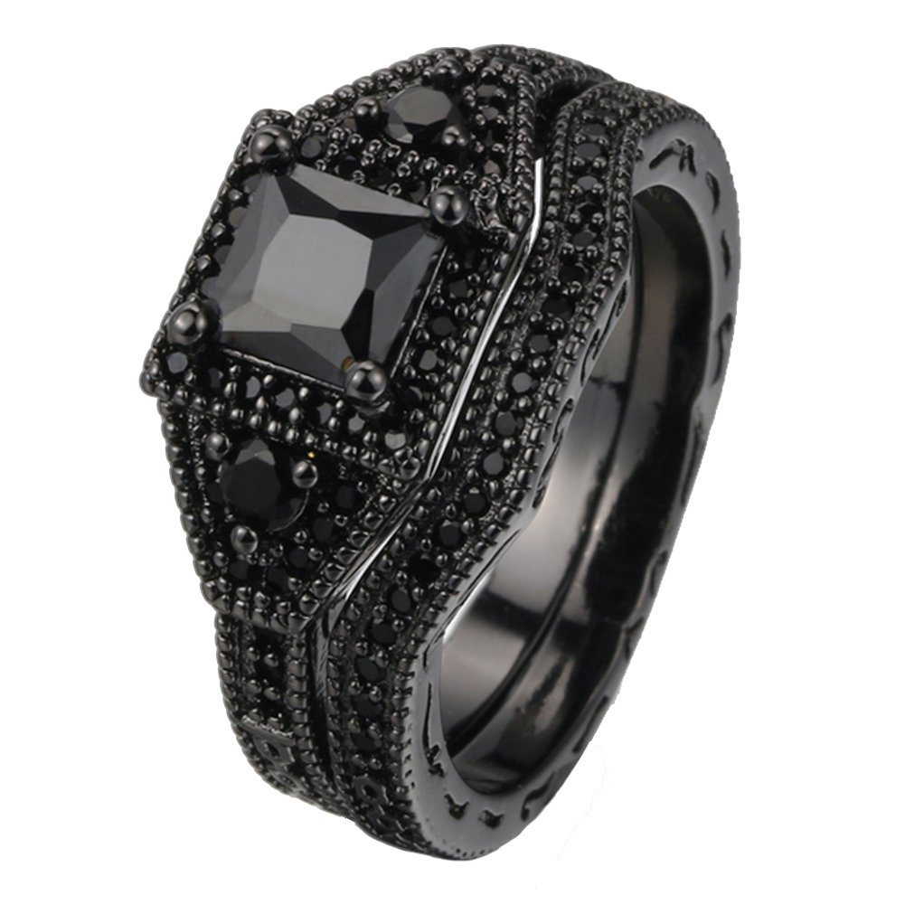 LILILEO Jewelry Black Gold Double Layer Sets Of Black Nano Zircon Black Gold Ring For Women's Rings by LILILEO