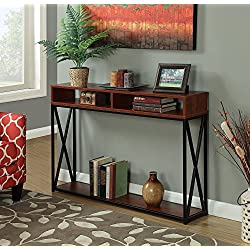 Convenience Concepts Tucson Deluxe 2-Tier Console Table, Cherry/Black