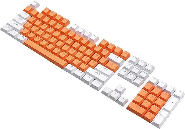 PBT - Juego de 104 Teclas retroiluminadas translúcidas para Todos los teclados mecánicos con Extractor de Llaves (Combo Naranja Blanco)