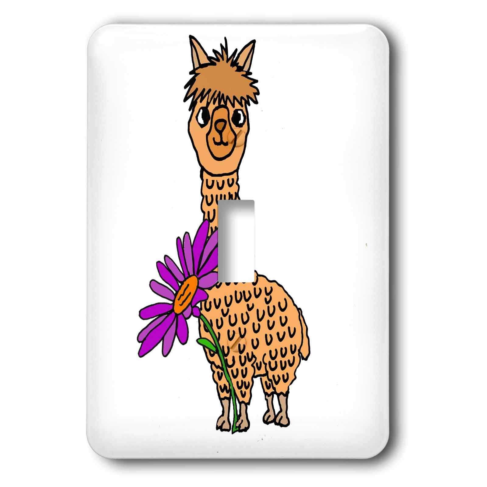 3dRose All Smiles Art Animals - Cute Funny Alpaca with Purple Daisy Flower Cartoon - Light Switch Covers - single toggle switch (lsp_288111_1)