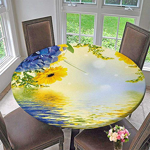 - Mikihome Round Table Tablecloth Yellow and Blue Romantic Bouquet of Hydrangeas and Asters on Water Background for Wedding Restaurant Party 43.5