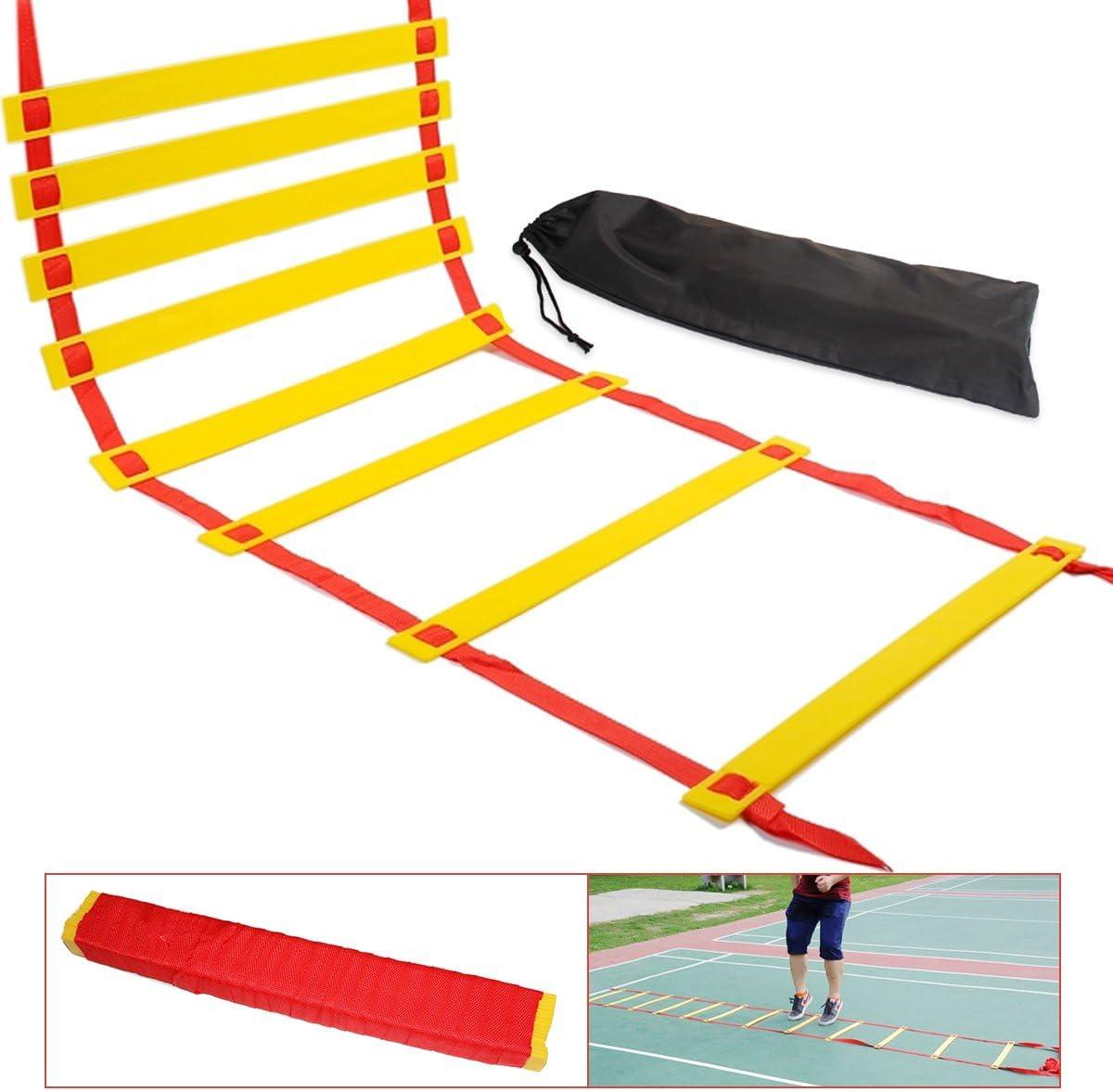 Escalera de agilidad, 10m Escalera de Formación de velocidad, NATUCE Entrenamiento de velocidad Kit de 20 escalones, Bienestar rápida ajustable Piso en entrenamiento de la agilidad y juego de piernas Taladros con