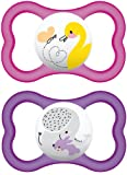 MAM Air SooTher Suitable 6 Months with Sterilisable Travel Case (Design May Vary) - Pack of 2, Pink/White