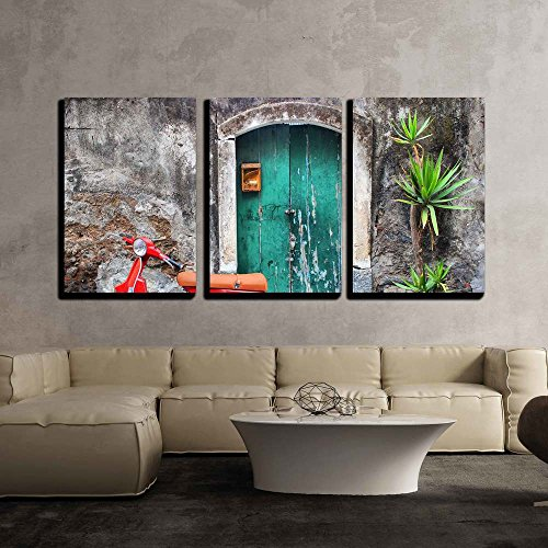 Red Photo Door (wall26 - 3 Piece Canvas Wall Art - Photo of Red Scooter near Green Door and Palm - Modern Home Decor Stretched and Framed Ready to Hang - 16