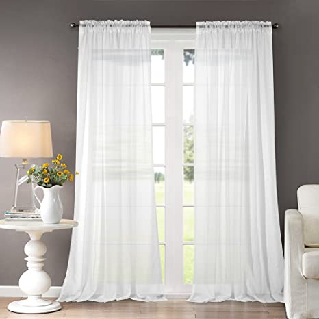 Amazon Com Dreaming Casa Solid Sheer Curtains Draperies White Rod Pocket 2 Panels 52 W X 96 L Kitchen Dining