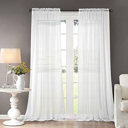 Dreaming Casa Solid Sheer Curtains Draperie White Rod Pocket Two Panels 52quot