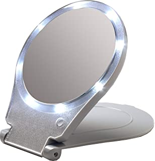 Floxite LED Lighted Travel and Home 10x Magnifying Mirror. Amazon com  Ultra thin Led Lighted Compact Travel Makeup Mirror