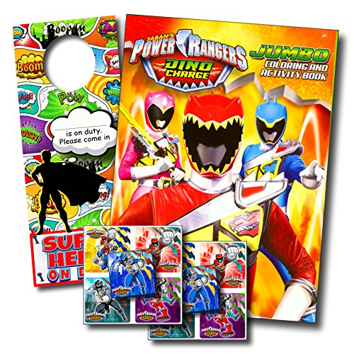 POWER RANGERS DINO CHARGE Coloring Book and Stickers Super Set Bundle ~ Dino Chargers Coloring Book with Power Rangers Dino Chargers Stickers & Specialty Decal ()