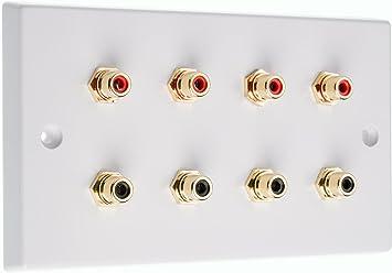 No Requiere Soldadura Blanco Slimline 1 X Rca Phono Av Placa de Pared Audio