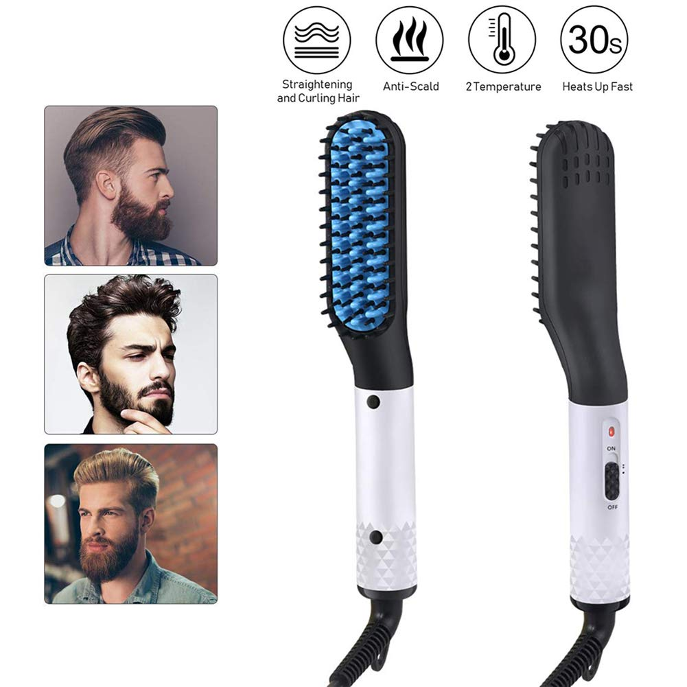 Straightener Comb for Men,Sunvito Electric Beard Straightener,Quick Beard Straightener Comb,Multifunctional Quick Curling Curler Straightener Comb for Men