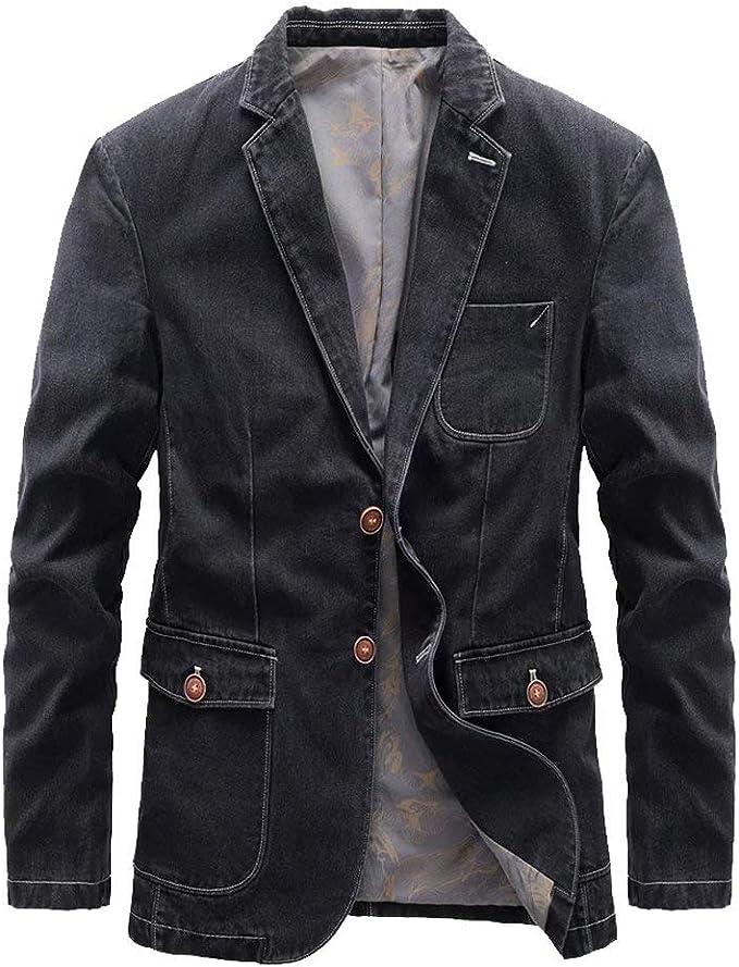 Tasahaya テーラードジャケット ブレザー メンズ デニムスーツ ジャケット スリム 紳士 カジュアル ビジネス 2つボタン