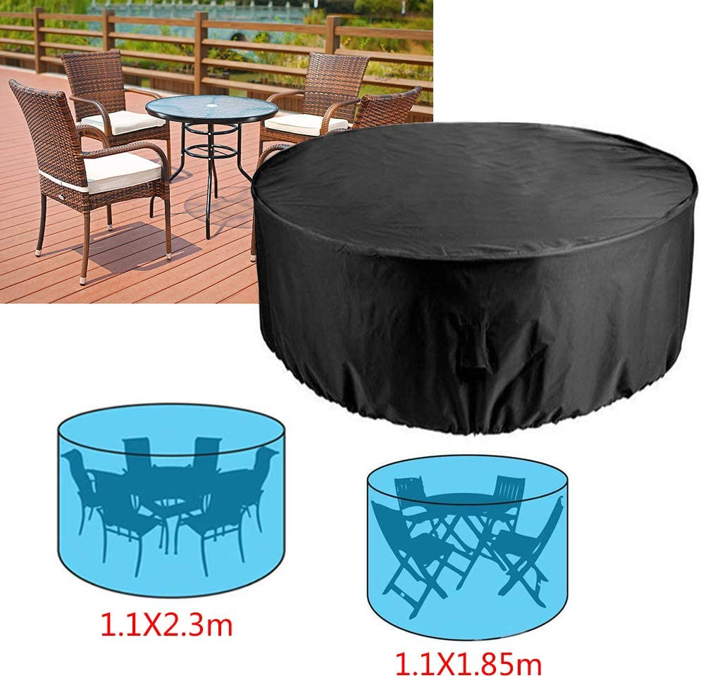 4 seaters 1.1x1.85M Ruilasago Garden Furniture Covers Outdoor Shelter Round Table Waterproof Windproof Anti-UV Large Circular Patio Set Cover,4 Seater