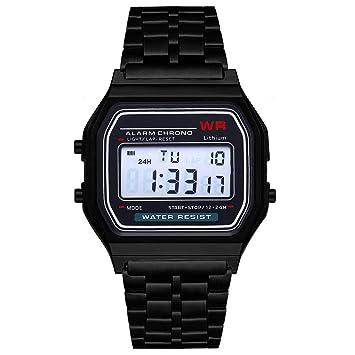Heaviesk Reloj Digital LED Vintage Reloj Digital LED Reloj de Pulsera de Acero Inoxidable con Correa