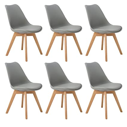 DORAFAIR Set di 6 Moderne Sedie da Pranzo,Tulip Pranzo/Ufficio Sedia ...