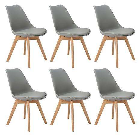 DORAFAIR Pack de 6 sillas escandinava Estilo nórdico Silla de Comedor,Tulip Comedor/Silla de Oficina con Las piernas de Madera de Roble Maciza,Gris